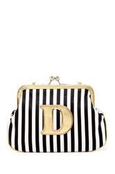 Melie Bianco Striped Initial Pouch D Multi