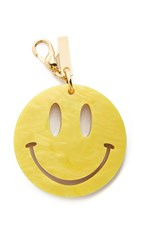 Edie Parker Happy Face Keychain Yellow Gold