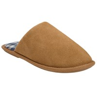 John Lewis Suede Check Lined Mule Chestnut