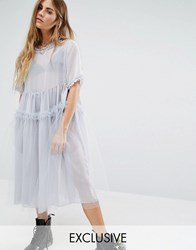 Reclaimed Vintage Oversized Tulle Dress With Ruffles Grey