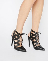 Call It Spring Nenawien Tie Up Point Heeled Shoes Black Nubuck