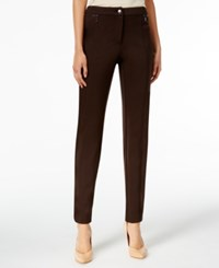 Jm Collection Zip Pocket Straight Leg Pants Only At Macy's Espresso Roast