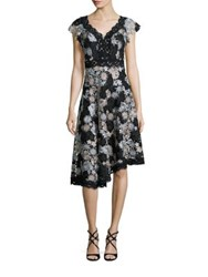 Nanette Lepore High Roller Asymmetrical Lace Dress Black Silver
