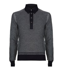 Tom Ford Knitted Jacquard Polo Shirt Male Grey