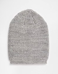 Asos Slouchy Beanie In Grey Texture Twist