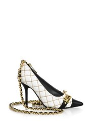 Moschino Quilted Faux Leather Shoe Crossbody Bag White Black