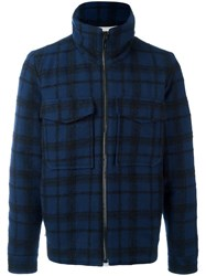 Andrea Pompilio Checked Jacket Blue