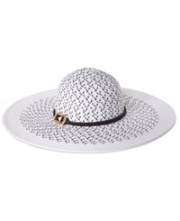 Vince Camuto Patterned Floppy Hat White