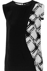 Raoul Bonnie Wrap Effect Printed Silk Top Black