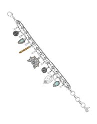 Lucky Brand Pave Peacock Semi Precious Reconstituted Calcite And Rock Crystal Charm Bracelet Silver
