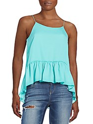 The Vanity Room Floral Print Ruffled Tank Top Mint