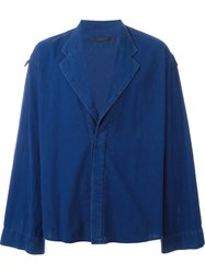 Haider Ackermann Notched Lapel Boxy Jacket Blue