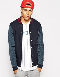 Asos Bomberwith Zip Pockets And Woven Sleeves In Jersey Navy