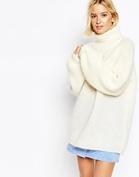 Gestuz Xenia Roll Neck Jumper With Blouson Sleeves Cream