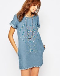 Pepe Jeans Embroidered Denim Dress With Raw Edge Detail Denim Blue