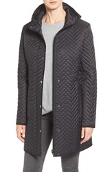 Larry Levine Women's Quilted Hooded Coat With Faux Suede Trim