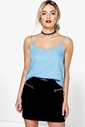 Boohoo Mid Blue V Neck Denim Cami Mid Blue