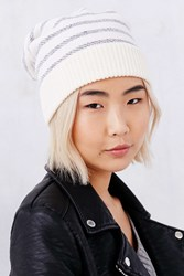 Urban Outfitters Striped Terry Beanie Navy