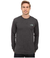 The North Face Long Sleeve Red Box Tee Tnf Dark Grey Heather Duck Green Men's Long Sleeve Pullover Gray