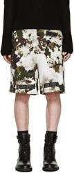 Off White Green And Brown Camouflage Shorts