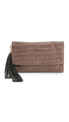 Zac Posen Claudette Large Croc Embossed Fold Over Clutch Stucco