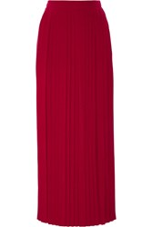 Tory Burch Rowan Pleated Silk Crepe De Chine Maxi Skirt Claret