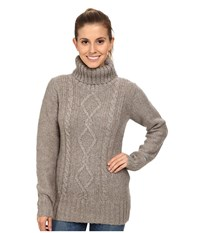 Columbia Hideaway Haven Cabled Turtleneck Kettle Heather Women's Long Sleeve Pullover Gray