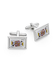 Saks Fifth Avenue King Playing Card Cuff Links Silver