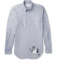 Thom Browne Slim Fit Embroidered Cotton Shirt Navy