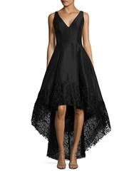 Betsy And Adam Lace Trimmed Hi Lo Gown Black