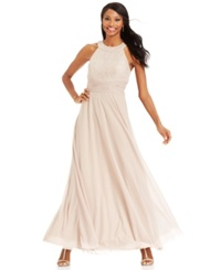 Jessica Howard Glitter Lace Halter Gown Taupe