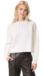 Alexander Wang Cable Striped Crew Neck Pullover Ivory