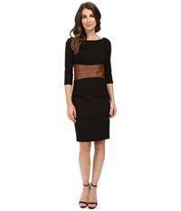 Nue By Shani Knit Dress With Leather Waistband With Built In Shapewear Black Luggage Women's Dress