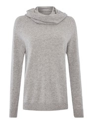 Gray And Willow Cowl Neck Cashmere Long Line Jumper Light Grey Marl