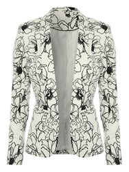 Jane Norman Floral Print Tailored Jacket White