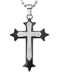 Macy's Men's Stainless Steel And Black Ion Plated Stainless Steel Necklace Textured Finish Cross Pendant
