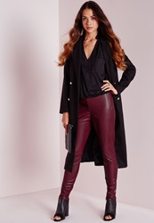 Missguided Faux Leather Ankle Zip Trousers Burgundy Burgundy
