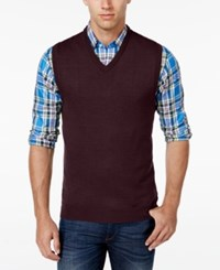 Club Room Men's Big And Tall V Neck Merino Wool Sweater Vest Only At Macy's Red Plum