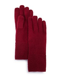 Bloomingdale's C By Waffle Knit Cashmere Gloves Pinot