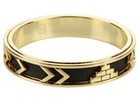House Of Harlow Aztec Bangle With Black Leather 14K Yellow Gold Plated Bracelet