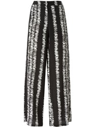 Eggs Scratch Print Wide Leg 'Artemisa' Palazzo Trousers Black