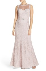 Js Collections Women's Illusion Lace Gown Champagne