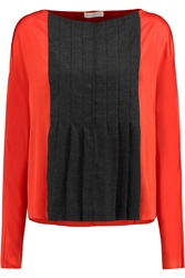 Vionnet Paneled Wool Blend And Stretch Silk Top