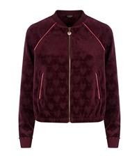 Juicy Couture Jacquard Velour Bomber Jacket Female Red