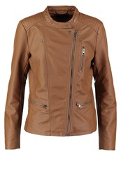 Only Onlfreya Faux Leather Jacket Cognac