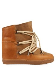 Isabel Marant Etoile Nowles Concealed Wedge Shearling Ski Boots Tan