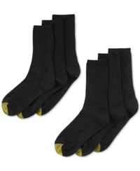 Gold Toe Women's Ribbed Crew 6 Pack Socks Black