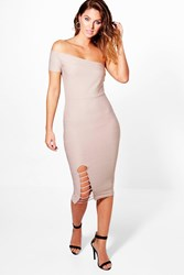 Boohoo One Shoulder Bandage Midi Dress Sand