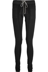 Rick Owens Ribbed Jersey Paneled Stretch Denim Leggings Dark Denim