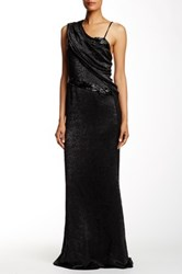 Ports 1961 Draped One Shoulder Silk Blend Gown